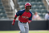 Daniel Johnson (7) of the Hagerstown Suns hustles down the first base line against the Kannapolis Intimidators at Kannapolis Intimidators Stadium on July 9, 2017 in Kannapolis, North Carolina.  The Intimidators defeated the Suns 3-2 in game one of a double-header.  (Brian Westerholt/Four Seam Images)