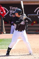 Wisconsin Timber Rattlers catcher Gregory McCall (21) at bat during a game against the Peoria Chiefs on April 25th, 2015 at Fox Cities Stadium in Appleton, Wisconsin.  Wisconsin defeated Peoria 2-0.  (Brad Krause/Four Seam Images)