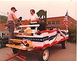 The Rep-Am printing press float, Waterbury 1981.