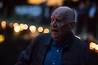 """Unter dem Titel """"Mare Manuschenge – Unseren Menschen"""" wurde am Dienstag den 2. August 2016 in Berlin am Mahnmal fuer die Ermordeten Sinti und Roma der letzen 1944 in Auschwitz ermordeten Sinti und Roma gadacht.<br /> Im Bild: Dani Karavan, Architekt des Denkmals fuer die im Nationalsozialismus ermordeten Sinti und Roma Europas.<br /> 2.8.2016, Berlin<br /> Copyright: Christian-Ditsch.de<br /> [Inhaltsveraendernde Manipulation des Fotos nur nach ausdruecklicher Genehmigung des Fotografen. Vereinbarungen ueber Abtretung von Persoenlichkeitsrechten/Model Release der abgebildeten Person/Personen liegen nicht vor. NO MODEL RELEASE! Nur fuer Redaktionelle Zwecke. Don't publish without copyright Christian-Ditsch.de, Veroeffentlichung nur mit Fotografennennung, sowie gegen Honorar, MwSt. und Beleg. Konto: I N G - D i B a, IBAN DE58500105175400192269, BIC INGDDEFFXXX, Kontakt: post@christian-ditsch.de<br /> Bei der Bearbeitung der Dateiinformationen darf die Urheberkennzeichnung in den EXIF- und  IPTC-Daten nicht entfernt werden, diese sind in digitalen Medien nach §95c UrhG rechtlich geschuetzt. Der Urhebervermerk wird gemaess §13 UrhG verlangt.]"""