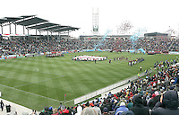 Before match ceremonies at the Rapids new stadium. In their first game in their new stadium Colorado Rapids held on to beat DC United 2-1 at Dick's Sporting Goods Park in Commerce City, Colorado on April 7 2007 before the first sellout crowd in Rapids history.