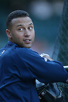 Derek Jeter of the New York Yankees during batting practice before a 2007 MLB season game  against the Los Angeles Angels at Angel Stadium in Anaheim, California. (Larry Goren/Four Seam Images)