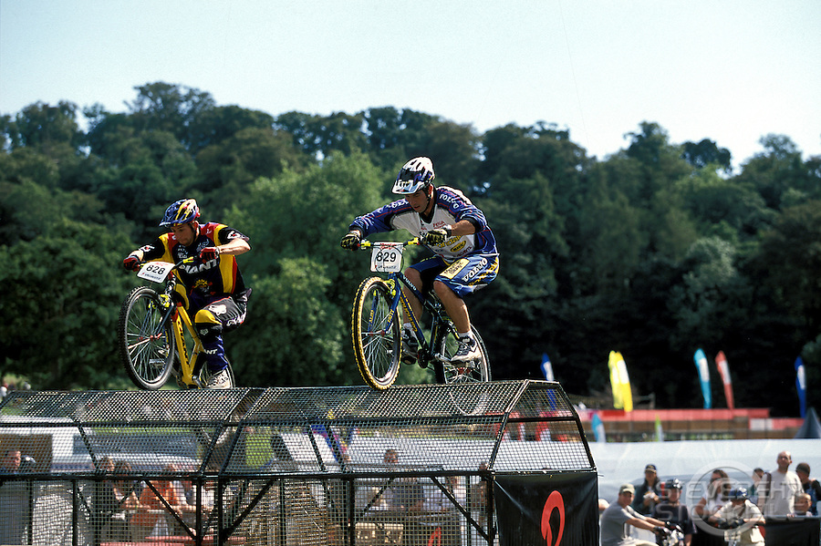 Martyn Ashton and Martin Hawyes competing at Speed Trials<br /> Biker X event , Plymouth , 2000<br /> pic © Steve Behr / Stockfile