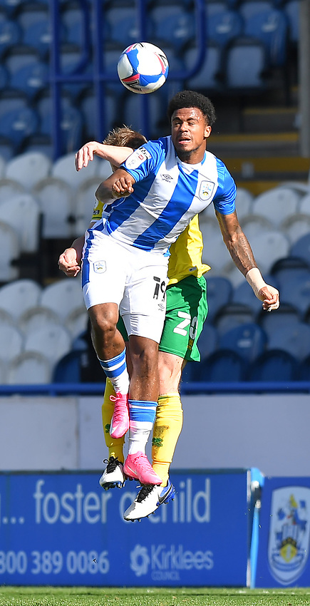 Huddersfield Town's Josh Koroma battles with Norwich City's Oliver Skipp<br /> <br /> Photographer Dave Howarth/CameraSport<br /> <br /> The EFL Sky Bet Championship - Huddersfield Town v Norwich - Saturday September 12th 2020 - The John Smith's Stadium - Huddersfield<br /> <br /> World Copyright © 2020 CameraSport. All rights reserved. 43 Linden Ave. Countesthorpe. Leicester. England. LE8 5PG - Tel: +44 (0) 116 277 4147 - admin@camerasport.com - www.camerasport.com