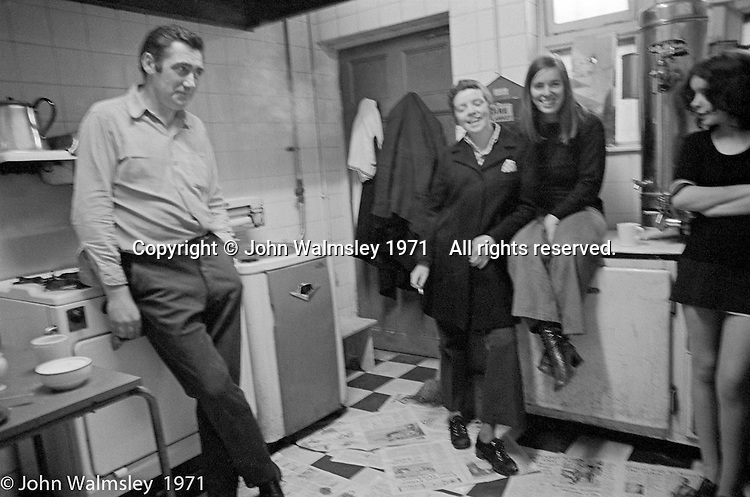 In the kitchen, George Shields on the left, Scotland Road Free School, Liverpool  1971.  Also known as the Scotland Road or Scottie Road Free School it was founded and run by two teachers, John Ord and Bill Murphy (if I've got these names wrong, please tell me!) who worked with truanting kids and provided somewhere to go and things to do.  They begged and borrowed an old building, desks, books and an old ambulance for trips.