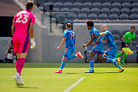 LOS ANGELES, CA - MAY 29: Jesús Medina #19 of NYCFC shoots on goal scores and celebrates during a game between New York City FC and Los Angeles FC at Banc of California Stadium on May 29, 2021 in Los Angeles, California.