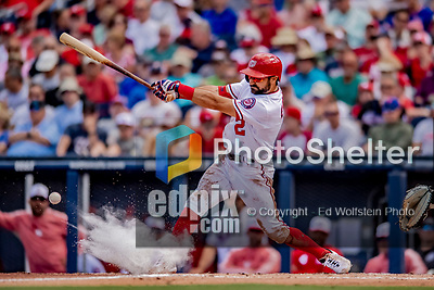 7 March 2019: Washington Nationals outfielder Adam Eaton fouls one off in the 3rd inning of a Spring Training Game against the New York Mets at the Ballpark of the Palm Beaches in West Palm Beach, Florida. The Nationals defeated the visiting Mets 6-4 in Grapefruit League, pre-season play. Mandatory Credit: Ed Wolfstein Photo *** RAW (NEF) Image File Available ***