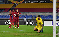 Football Soccer: UEFA Europa League UEFA Europa League Group A  AS Roma vs FCR Cluj, Olympic stadium, Rome, 5 November, 2020.<br /> Roma's Borja Mayoral (l) celebrates with his teammates  after scoring his second goal in the match during the Europa League football match between Roma and Cluj at the Olympic stadium in Rome on  5 November, 2020.<br /> UPDATE IMAGES PRESS/Isabella Bonotto