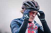 Katie Compton (USA/KFC Racing p/b Trek/Panache) at the start<br /> <br /> Women Elite Race<br /> UCI CX Worlds 2018<br /> Valkenburg - The Netherlands