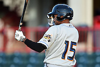 Akron RubberDucks third baseman Ronny Rodriguez (15) at bat during a game against the Erie SeaWolves on May 17, 2014 at Jerry Uht Park in Erie, Pennsylvania.  Erie defeated Akron 2-1.  (Mike Janes/Four Seam Images)