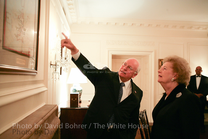 """VP Cheney and Lynne Cheney: Look at World War II map, """"Estimated German Situation 1 May 1945,"""" in Map Room before Moment of Silence on the South Lawn.  Former Prime Minister of Great Britain Margaret Thatcher."""