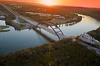 Aerial view of the famous Pennybacker 360 bridge in Austin, Texas, Live Music Capital of the World
