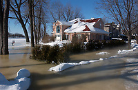 Ice pile up make a river,near Montreal, overflow.January 14 2004<br /> <br /> photo : (c)  Images Distribution