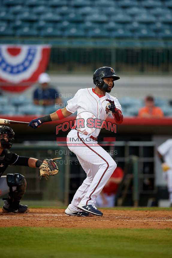 Florida Fire Frogs Izzy Wilson (1) at bat during a Florida State League game against the Jupiter Hammerheads on April 8, 2019 at Osceola County Stadium in Kissimmee, Florida.  Florida defeated Jupiter 7-6 in ten innings.  (Mike Janes/Four Seam Images)