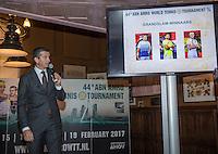 Rotterdam, Netherlands, Januari 12, 2017, ABNAMROWTT pressconference,  tournament director Richard Krajicek anouncing the players field<br /> Photo: Tennisimages/Henk Koster