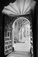 Entrance to Mission San Jose.<br /> <br /> Mamiya RB67 Pro SD, 50mm lens, Kodak TMAX 100 film