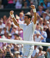 England, London, 28.06.2014. Tennis, Wimbledon, AELTC, Men's semifinal between Novak Djokovic  (SRB) and Grigor Dimitrov (BUL), Pictured: Novak Djokovic celebrates his win<br /> Photo: Tennisimages/Henk Koster