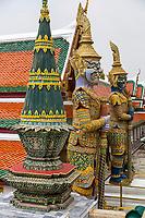 Bangkok, Thailand.  Demon Guardians (Yakshas) in the Royal Grand Palace Grounds.