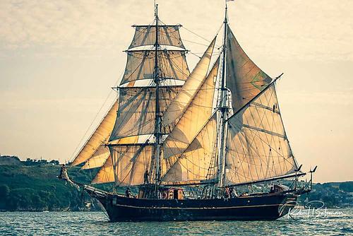The Tres Hombres brigantine sailing in Cork Harbour