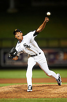 Salt River Rafters pitcher Santos Rodriguez #43, of the Chicago White Sox organization, during an Arizona Fall League game against the Mesa Solar Sox at Salt River Fields at Talking Stick on October 9, 2012 in Scottsdale, Arizona.  Salt River defeated Mesa 6-5.  (Mike Janes/Four Seam Images)