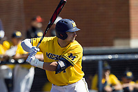 Michigan Wolverines catcher Harrison Wenson (7) at bat against the Illinois Fighting Illini during the NCAA baseball game on April 8, 2017 at Ray Fisher Stadium in Ann Arbor, Michigan. Michigan defeated Illinois 7-0. (Andrew Woolley/Four Seam Images)