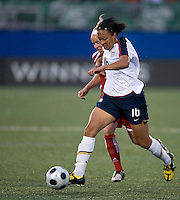 Kelly Parker, Angela Hucles. The US Women's National Team defeated the Canadian Women's National Team, 4-0, at BMO Field in Toronto during an international friendly soccer match on May 25, 2009.