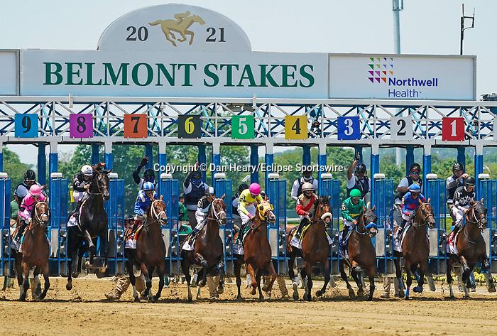 June 5, 2021: Lone Rock, #9, ridden by jockey Ramon Vazquez wins the Brooklyn Stakes on Belmont Stakes Day at the Belmont Stakes Festival at Belmont Park in Elmont, New York. Dan Hearyi/Eclipse Sportswire/CSM