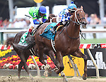May 16, 2015: Holy Boss, Ricardo Santana Jr. up, wins the 6th running of the Chick Lang Stakes at Pimlico Race Course in Baltimore, MD. Trainer is Steve Asmussen, owner is Jerry Durant. Joan Fairman Kanes/ESW/CSM