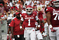 Arkansas quarterback KJ Jefferson (1) walks out onto the field, Saturday, September 11, 2021 during the first quarter of a football game at Reynolds Razorback Stadium in Fayetteville. Check out nwaonline.com/210912Daily/ for today's photo gallery. <br /> (NWA Democrat-Gazette/Charlie Kaijo)