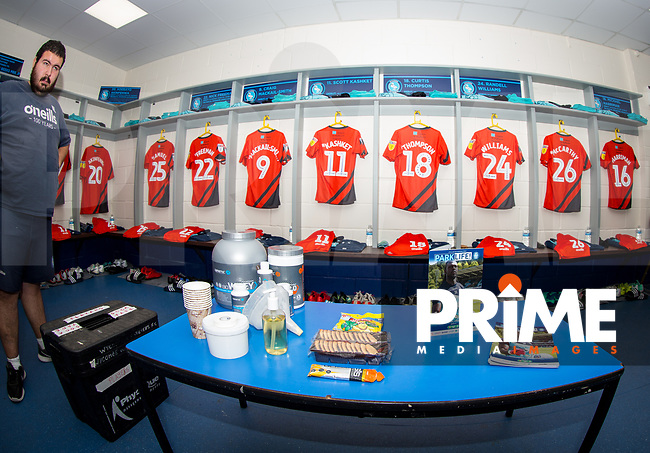 Kitman Nathan Lugg in Wycombe changing room pre match during the Carabao Cup 2nd round match between Wycombe Wanderers and Forest Green Rovers at Adams Park, High Wycombe, England on 28 August 2018. Photo by Andy Rowland.