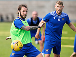 St Johnstone Training …03.08.21  <br />Stevie May pictured during training this morning at McDiarmid Park before heading to Turkey to face Galatasaray in the Europa League third qualfying round first leg.<br />Picture by Graeme Hart.<br />Copyright Perthshire Picture Agency<br />Tel: 01738 623350  Mobile: 07990 594431