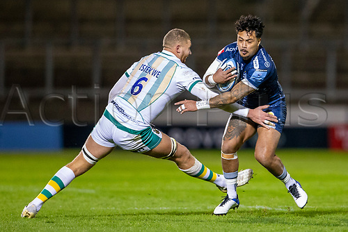 20th November 2020; AJ Bell Stadium, Salford, Lancashire, England; English Premiership Rugby, Sale Sharks versus Northampton Saints; Denny Solomona of Sale Sharks is tackled by Nick Isiekwe of Northampton Saints