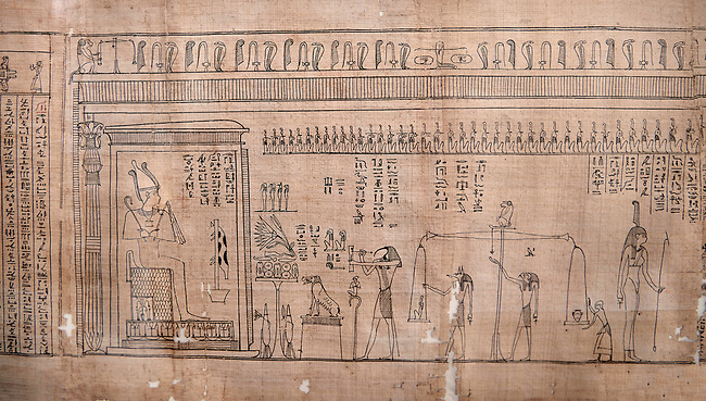 Ancient Egyptian Book of the Dead papyrus - Spell 126 - what to say in the judgement before Osiris, Iufankh's Book of the Dead, Ptolemaic period (332-30BC).Turin Egyptian Museum. close up<br /> <br /> Spell 125 instruct the deceased as to waht to say infront of Osiris and the Forty Two Judges in the Hall of Two Maat, the netherworlds Judgement Hall. <br /> <br /> The translation of  Iuefankh's Book of the Dead papyrus by Richard Lepsius marked a truning point in the studies of ancient Egyptian funereal studies.