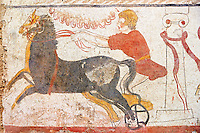 Lucanian fresco tomb painting of a man racing a chariot past the winning post. Paestrum, Andriuolo. 3rd Century BC