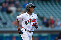 Indianapolis Indians third baseman Ke'Bryan Hayes (24) jogs towards first base during an International League game against the Columbus Clippers on April 29, 2019 at Victory Field in Indianapolis, Indiana. Indianapolis defeated Columbus 5-3. (Zachary Lucy/Four Seam Images)