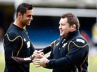 Photo: Richard Lane/Richard Lane Photography. Bath Rugby v London Wasps. Aviva Premiership. 21/04/2012. Wasps' Marco Wentzel and Dai Young.