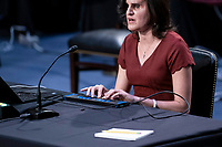Laura Wolk, the first blind woman to clerk at the Supreme Court and a former student of Barrett's at Notre Dame Law School, uses specialized technology to testify during the Senate Judiciary Committee confirmation hearing of Amy Coney Barrett, U.S. President Donald Trump's nominee for associate justice of the U.S. Supreme Court, on Capitol Hill in Washington, D.C., U.S., on Thursday, Oct. 15, 2020. <br /> Credit: Sarah Silbiger / Pool via CNP /MediaPunch