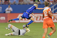 Frisco, TX - Sunday September 03, 2017: Jane Campbell and Megan Rapinoe during a regular season National Women's Soccer League (NWSL) match between the Houston Dash and the Seattle Reign FC at Toyota Stadium in Frisco Texas. The match was moved to Toyota Stadium in Frisco Texas due to Hurricane Harvey hitting Houston Texas.