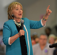 DAVIE, FL - OCTOBER 02: Democratic presidential candidate Hillary Clinton speaks during her campaign stop at the Broward College Hugh Adams Central Campus on October 2, 2015 in Davie, Florida. Hillary Clinton continues to campaign for the nomination of the Democratic Party as their presidential candidate.<br /> <br /> <br /> People:  Hillary Clinton