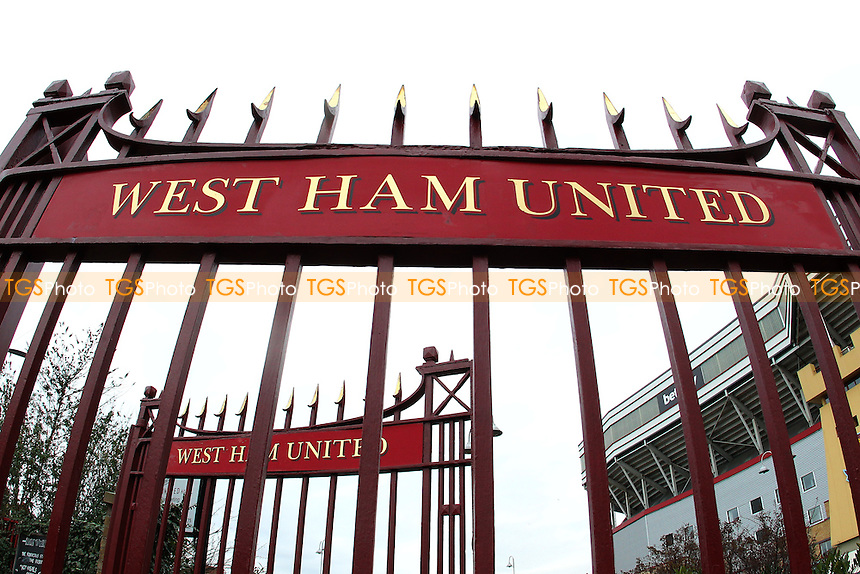 The John Lyall gates outside the ground ahead of West Ham United Ladies vs Tottenham Hotspur Ladies, FA Women's Premier League Football at the Boleyn Ground, Upton Park