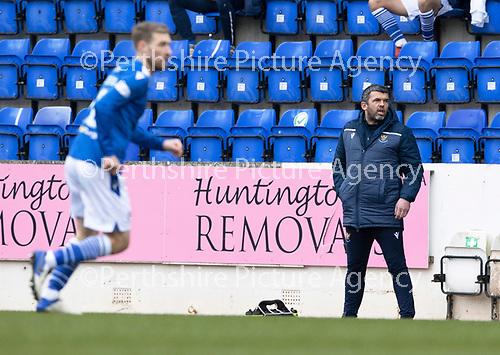 St Johnstone v Hibs …06.03.21   McDiarmid Park   SPFL<br />Saints manager Callum Davidson<br />Picture by Graeme Hart.<br />Copyright Perthshire Picture Agency<br />Tel: 01738 623350  Mobile: 07990 594431