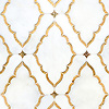 Josephine, a waterjet mosaic shown in Venetian honed Afyon White and both honed and polished 24K Gold Glass, is part of the Aurora® collection by New Ravenna.