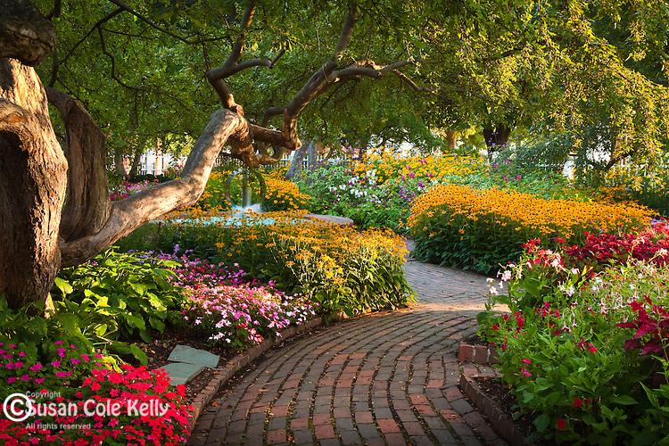 The gardens at Prescott Park in Portsmouth, Seacoast Region, NH, USA