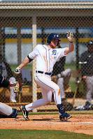 FCL Tigers West Chris Meyers (34) bats during a game against the FCL Yankees on July 31, 2021 at Tigertown in Lakeland, Florida.  (Mike Janes/Four Seam Images)