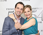 Rob McClure and Maggie Lakis backstage at the 'Avenue Q' 15th Anniversary Reunion Concert at Feinstein's/54 Below on July 30, 2018 in New York City.