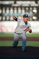 Tri-City Dust Devils relief pitcher Wen-Hua Sung (50) delivers a pitch during a Northwest League game against the Everett AquaSox at Everett Memorial Stadium on September 3, 2018 in Everett, Washington. The Everett AquaSox defeated the Tri-City Dust Devils by a score of 8-3. (Zachary Lucy/Four Seam Images)