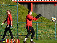 20200911 - TUBIZE , Belgium : Goalkeeper Justien Odeurs catches a ball during the training session of the Belgian Women's National Team, Red Flames ahead of the Women's Euro Qualifier match against Switzerland, on the 28th of November 2020 at Proximus Basecamp. PHOTO: SEVIL OKTEM   SPORTPIX.BE