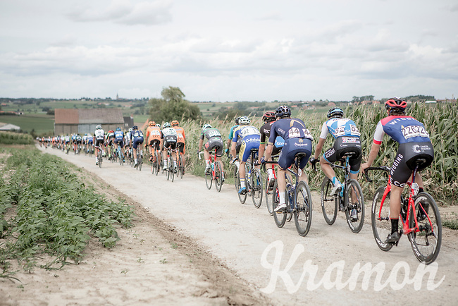 Peloton over  the Plugstreets Gravel Sections. <br /> <br /> <br /> 1st Great War Remembrance Race 2018 (UCI Europe Tour Cat. 1.1) <br /> Nieuwpoort > Ieper (BE) 192.7 km