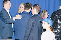 Democratic presidential candidate and former South Bend, Ind., mayor Pete Buttigieg greets people after speaking at his Primary Night rally at Nashua Community College in Nashua, New Hampshire, on Tue., Feb. 11, 2020. Democratic presidential candidate and Vermont senator Bernie Sanders was projected to win the New Hampshire Democratic Primary, but Buttigieg came in a close second.