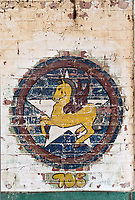 ©Si Barber 07739 472 922. <br /> A mural depicting the emblem of 705 Squadron, 446th Bomber Group  in derelict buildings at former US Air Force base RAF Flixton, Suffolk.<br /> <br /> USAGE TERMS: ONE USE IN PRINT AND ONLINE. NO SYNDICATION, RETENTION, OR THIRD PARTY SALES. MINIMUM FEES APPLY